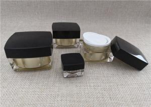 China Anti Bacterial Acrylic Jars For Cosmetics Black / Gold Color Square Shape on sale