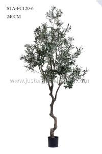 China High Imitation Faux Olive Plant 240CM 8 Ft Curving Stem Low Maintance Natural Looking on sale