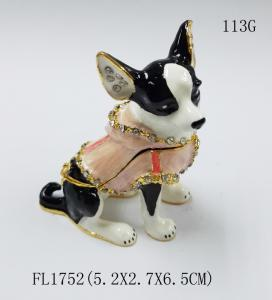 China dog shape gold plated trinket box metal jewelry boxes for decoration on sale