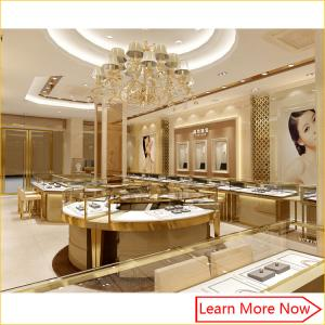 China Wholesale custom made modern glass stainless steel lighting used jewelry showcase for jewelry shop on sale