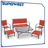 Outdoor Steel Patio Furniture 6PC Garden Patio Cross Weave Strap Set with Ottoman