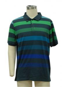 China Formal Mens Polo T Shirts Yarn Dye Stripes With Fader Colors Eco Friendly on sale