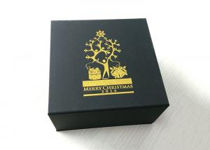 China Custom Gold Stamping Logo Present Gift Box , Xmas Black Folding Carton Box on sale