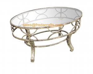 China Top Quality  Metal Decorative Framed Coffee Table With Tempered Glass Top Silver Finish Table on sale