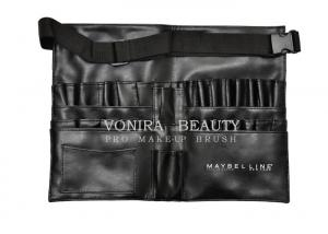 China Imported PU Cosmetic Makeup Brush Apron Bag with Artist Belt Strap Black on sale