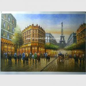 China 100% Handmade Paris Oil Painting Palette Knife Eiffel Tower Paris Scenery On Canvas on sale