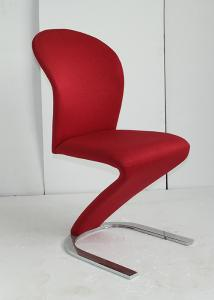 China Modern Elegant Dining Chairs , Red Fabric Dining Chairs With Chrome Legs  on sale