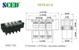 China Power Distribution Terminal Block Connector 16.00mm Electrical Brass Conduction Board on sale