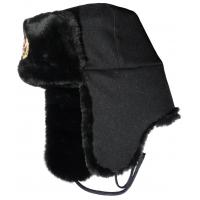Black Mens Waterproof Winter Hats , Faux Fur Ski Warm Winter Hats With Ear Flaps