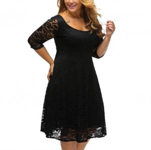 China Fashion empire waist sexy women lace overlay plus size midi dress on sale