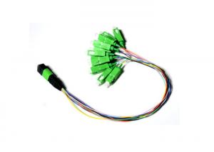 China 0.9mm 12 Fiber Fan Out Optic Patch Cord / Simple Module MPO APC Male TO SC APC on sale