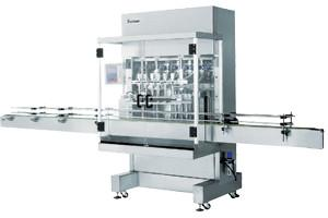 China Automatic Pneumatic Liquid Piston Filling Machine 2 heads, with 6m standard conveyor on sale