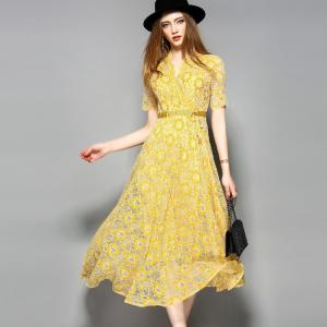 China yellow hot sale women lace-up polyester lace dress on sale