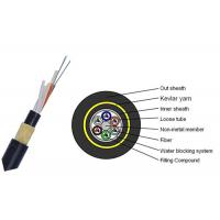 Dry Core 24 Core Fiber Optic Cable , FRP Strength Member Single Mode Fiber Cable