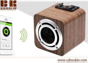 China fm radio tf card aux audio 8w hifi super bass stereo sound system wood ibastek multimedia  speaker on sale