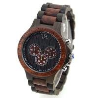 Customized Black And Red Quartz Wood Watch 3 ATM waterproof