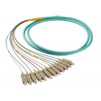 50 / 125 OM4 OM3 Optical Fiber Pigtail SC 12 Fiber Optic Jumper Cable With PVC Jacket