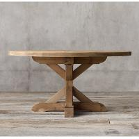 Country round wood furniture dining table with Rough - hewn salvaged wood planks