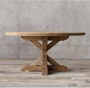 China Country round wood furniture dining table with Rough - hewn salvaged wood planks on sale
