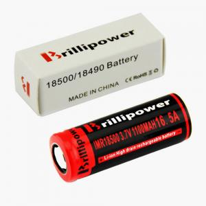 China Brillipower Black IMR 18500 1100 mAh 3.7V LI-MN Rechargeable Battery , BUTTON Top ,16.5A on sale