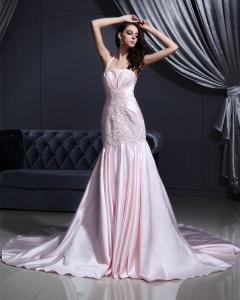 Quality Pink Satin dropped waist Halter Neck Wedding Dresses with chapel train for sale