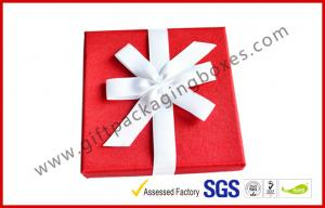 China Elegant Square 1200G Grey Board Gift Ppackaging Boxes , Fabric Gift box with Ribbon on sale