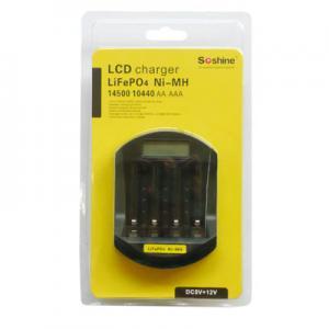 Soshine LiFePO4 14500//10440 AA//AAA LCD Smart Fast Battery 12v//5v Mix Charger