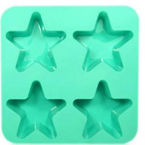China 4 holes star pentagram silicone cake mold, chocolate pudding mold on sale