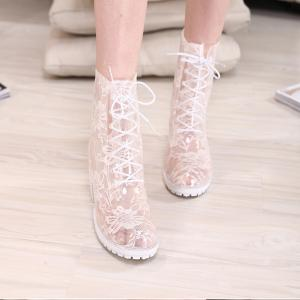 China Supply High Heel Lace Rain Boots on sale