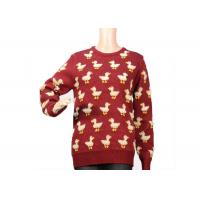China Ladies Crew Neck Red Mohair Pullover Sweater 9 Gauge Cute Duck Knitted Pattern on sale