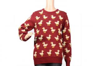 China Ladies Crew Neck Red Mohair Sweater Jacquard 9 Gauge Cute Duck Knitted Pattern on sale