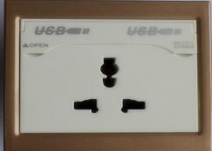 China 220V Double USB Wall Socket On - Off Operations Exceed 40000 Times With Earth Contact on sale