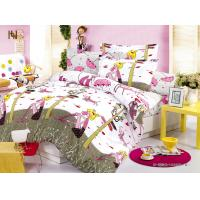 Customized Pink Cartoon Printed 100 % Cotton Kids Bed Sheet Sets for Girls