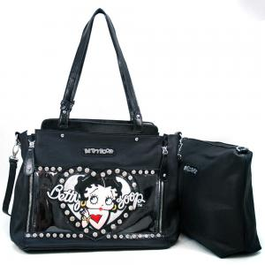 China wholesale betty boop Leather Handbags Totes Bag with Chain Decor Rhinestones Women Handbags& Clear Glossy Accent on sale