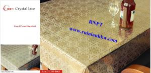 China PVC Table Cloth --RNPT Crystal lace table cloth ---TC285-T003 gold table cloth on sale