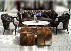 China British Hotel Lobby Sofa For Public Area , Brown 2 Seater Leather Sofa on sale
