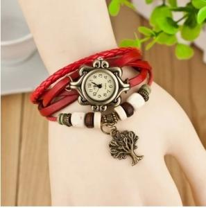 China Multicolor Retro Bronze Case Tree Pendant Leather Wrap Bracelet Watch For Girls 21CM on sale