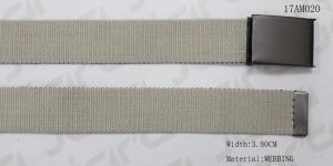 China 3.8cm Flat Webbing Tape Wide Web Belt With Matt. Black Painting Plate Clip Buckle on sale
