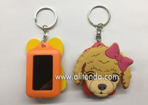 China Cartoon dog cat pet shape keychain custom with card holder photo frame design key chain on sale