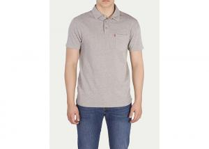 China Grey Polyester Men's Polo Shirts With Pocket On The Left / Short Sleeve Polos on sale