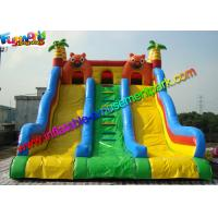 Three Lane Inflatable Bouncers With Slide Hand Printing 8mLx5mWx6mH