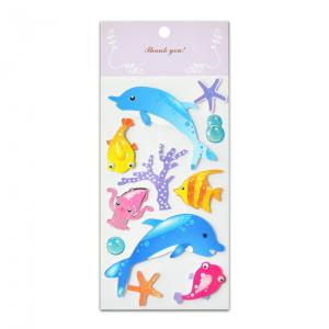 China Sea Fish Glitter Epoxy And Paper Stickers Handmade 3D Two Layers High Quality Low Cost For Kids Fun And Learning supplier