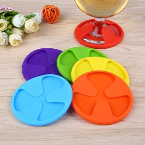 China Food grade safety antiskid silicone rubber wine glass coaster on sale