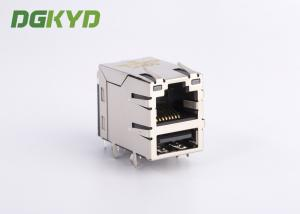 China Industrial dual deck USB rj45 connector cat 5e rj45 connector with USB , G/Y LED on sale