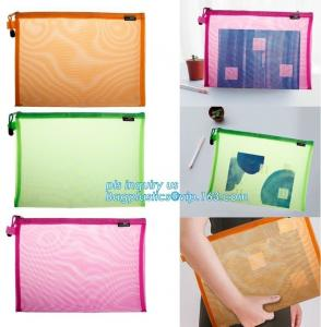 China OEM mesh plastic A4 file bag with zipper, net netting document bag pouch, customized PEVA coated net polyester fabric fo on sale