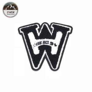 China W Letter 3D DIY Chenille Patch , Small Iron On Patches Cutomized Shape on sale