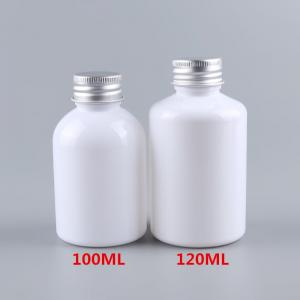 China Environmental Friendly White Plastic Lotion Bottles Cylinder 100 / 120ml on sale