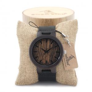 China Gift wooden watch black band wristwatch with paper box shipping fast on sale