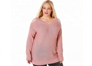 China Women Hollowed Oversized Knit Sweaters , Long Pullover Sweaters Pink / Green on sale