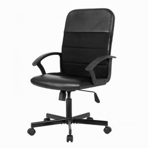 China Black Leather Office Chair With Armrest Zipper , Wearable Swivel Computer Chair on sale